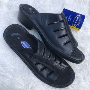 NWT Dr. Scholl's black leather slip on shoes